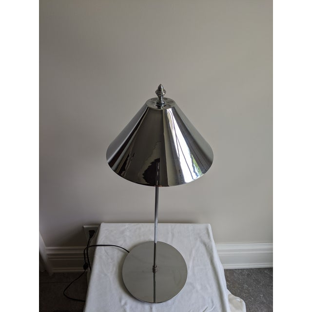 1980s Postmodern Sonneman Style Polished Chrome Table Lamp For Sale - Image 6 of 11