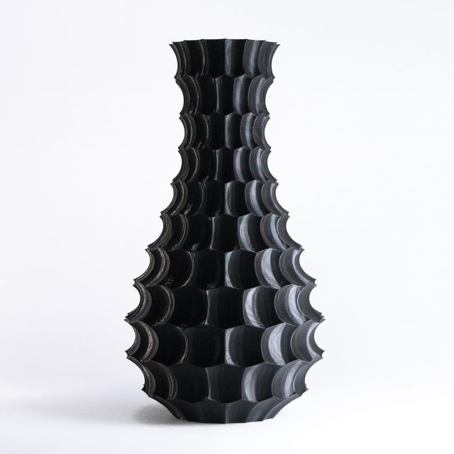 Scalloped Black Plastic Modern Vase Chairish