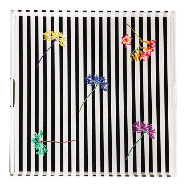 """Black Floral Stripes, 18""""x18"""" Acrylic Tray For Sale"""
