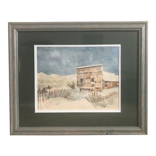 """Original 1976 Carolyn H Evridge """"Worked Out"""" Watercolor Signed Painting For Sale"""