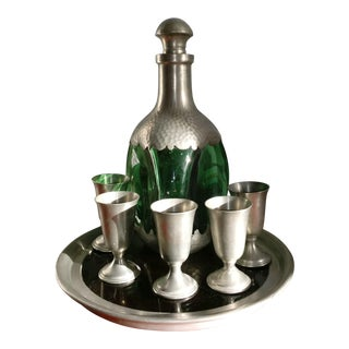 Daalderop Decanter With Tray and Pewter Cups - 7 Pieces