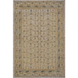 "Mansour Pure Silk Khotan Rug - 6'8"" X 9'10"" For Sale"