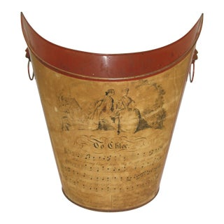 Vintage Red Tole Waste Basket With Musical Print & Lion Heads For Sale