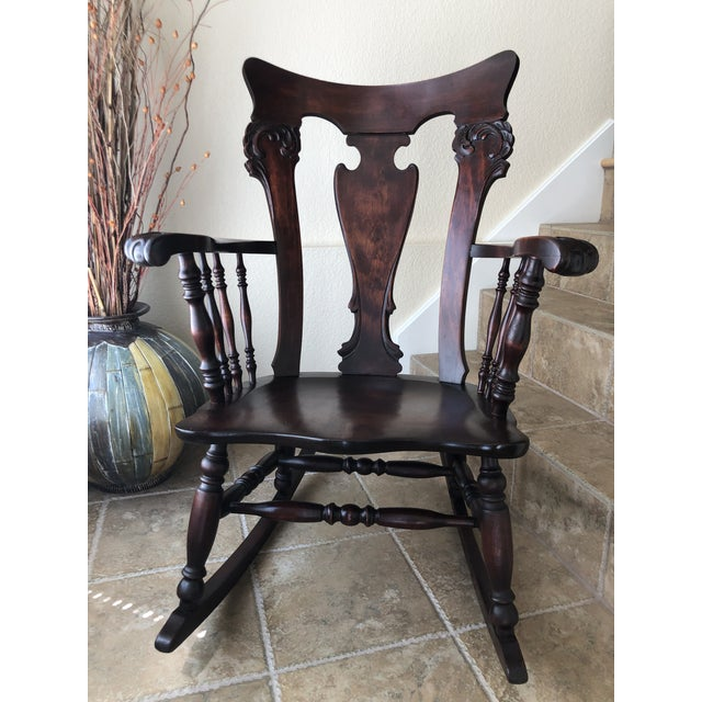 Jacobean Colonial Revival-Inspired Carved Rocking Chair For Sale - Image 13 of 13