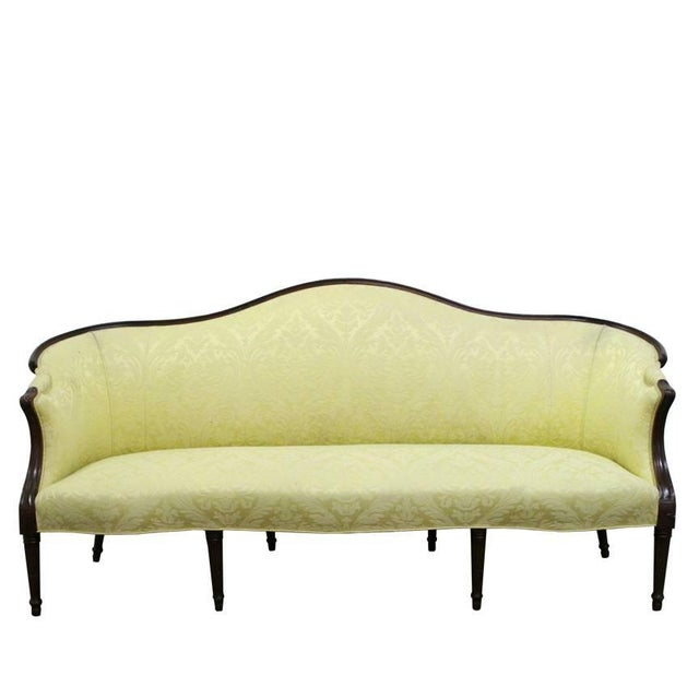 Yellow Wood Wrapped French Sofa For Sale - Image 8 of 8