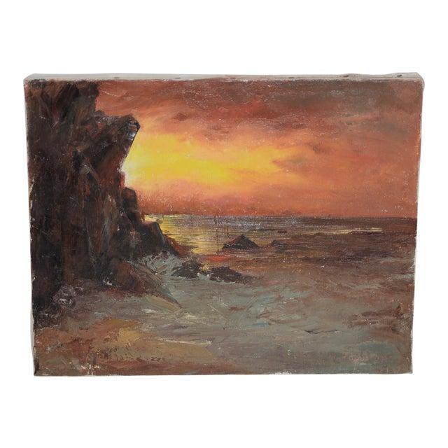 "Irina Roudakoff Belotelkin (january 1, 1913 – January 21, 2009) ""coastal Sunset"" Oil Painting C.1960s For Sale"