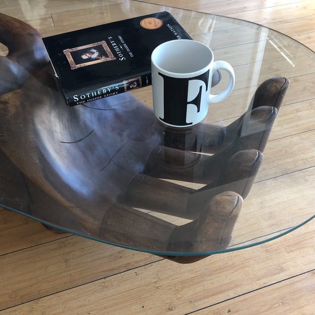 1980s Contemporary Wooden Guayasamin Open Hands Coffee Table For Sale - Image 4 of 11