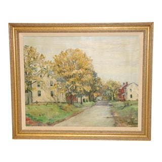 1940s Vintage Walter Emerson Baum Milford Square Painting For Sale