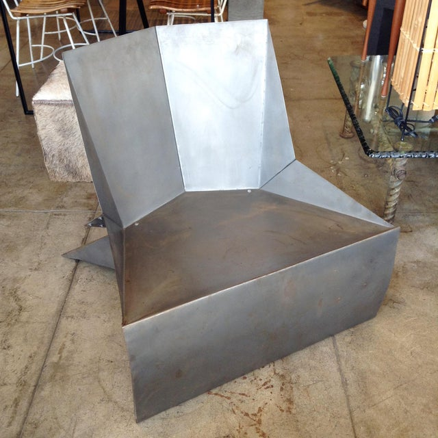 Metal Vintage Folded Origami Steel Chair For Sale - Image 7 of 7