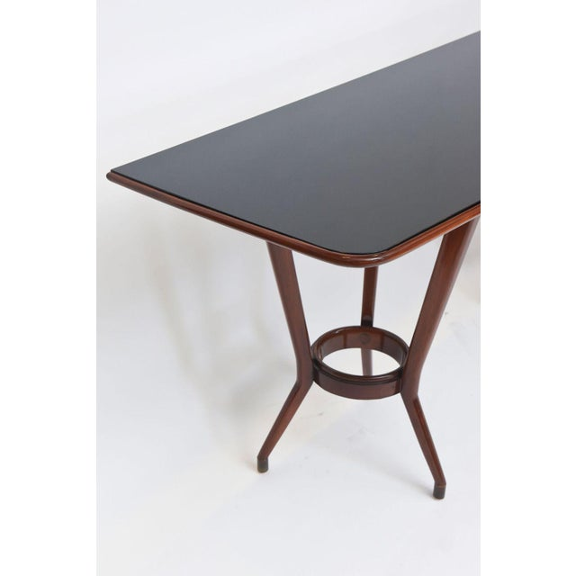 Italian Italian Modern Mahogany, Brass and Black Glass Console Table, Guglielmo Ulrich For Sale - Image 3 of 10