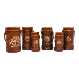Collection of 19th Century English Leather Ammunition Carriers, Cordrite Buckets For Sale