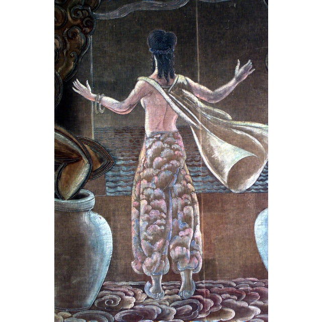American Art Deco vertical painted velvet wall hanging of Persian lady with 2 urns (att: Grant Simon, 1928)