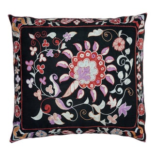 Floral-Patterned Silk Pillow For Sale