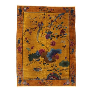 Antique Chinese Pictorial Rug With Art Deco Style - 10'00 X 13'04 For Sale