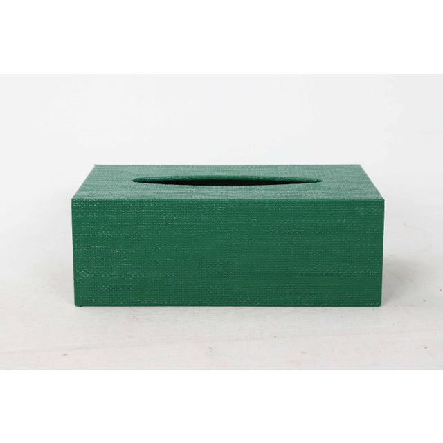 Green Green Linen Covered Tissue Box Cover For Sale - Image 8 of 8