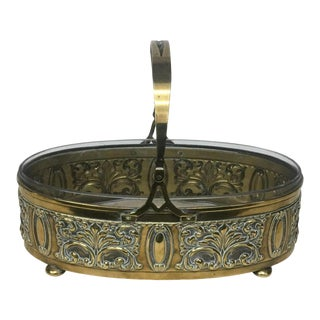 1910 English Art Nouveau Brass and Glass Oval Centerpiece For Sale