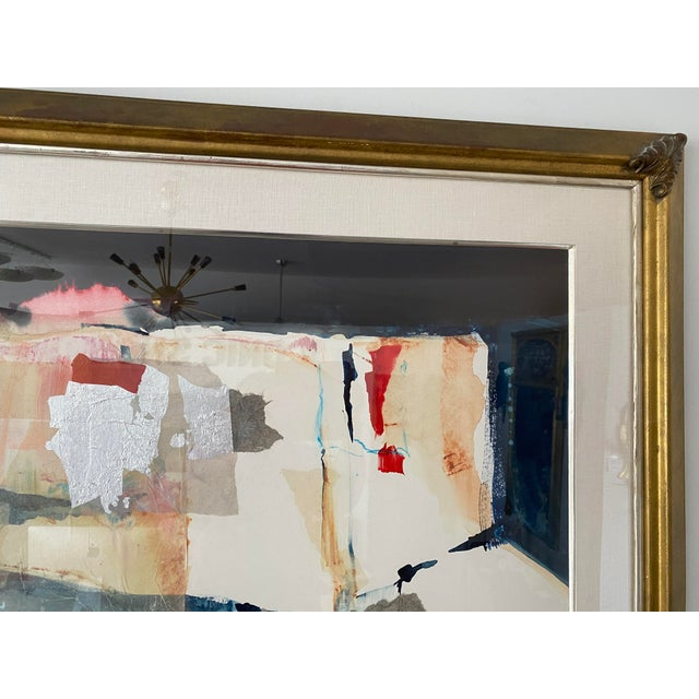 1980s Vintage Harold Larson Painting Abstract Mixed Media Collage For Sale - Image 5 of 13