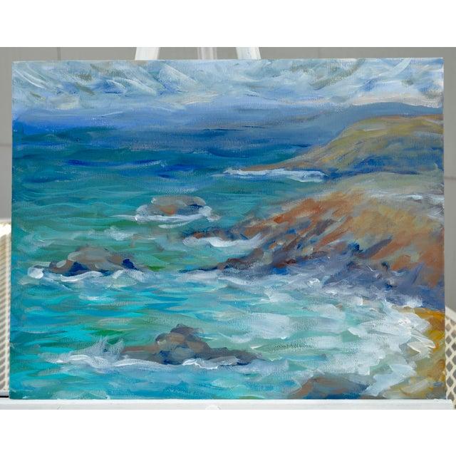 Coastline Impressionist Acrylic Painting For Sale In Sacramento - Image 6 of 6