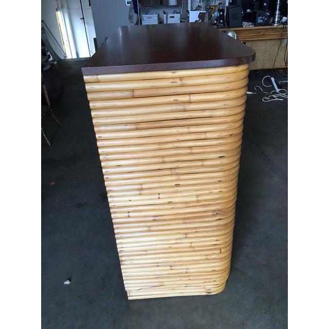 Restored Stacked Rattan Highboy Dresser With Mahogany Top For Sale - Image 9 of 10
