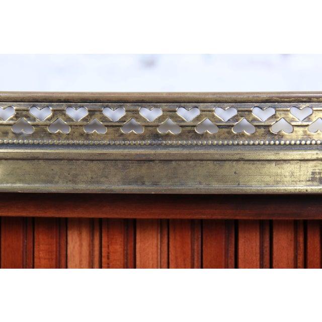 Metal Baker Furniture French Regency Cherry and Brass Tambour Door Nightstands, Pair For Sale - Image 7 of 13
