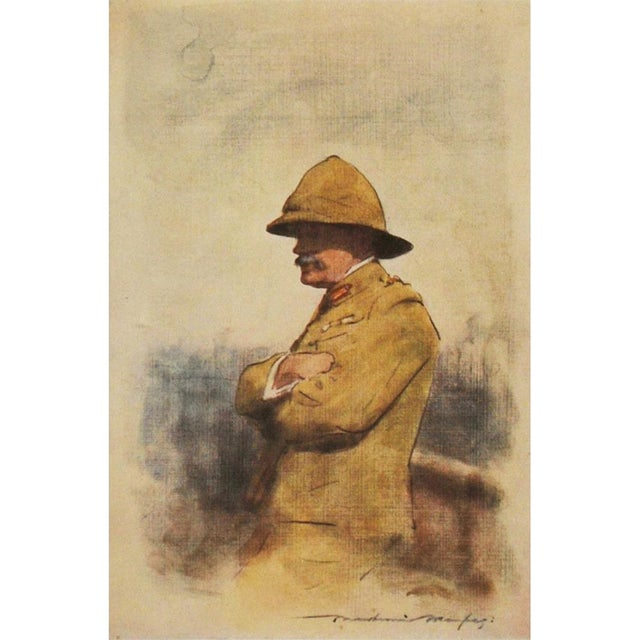 Blue 1901 Safari Style Original Portrait of Major General Wavell by M. Menpes For Sale - Image 8 of 8