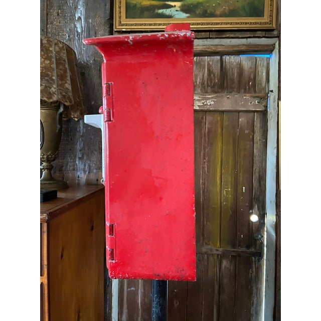 Industrial Mid-1900s Red Gamewell Cast Iron Fire Alarm Master Box W/ Western Electric Phone For Sale - Image 3 of 13