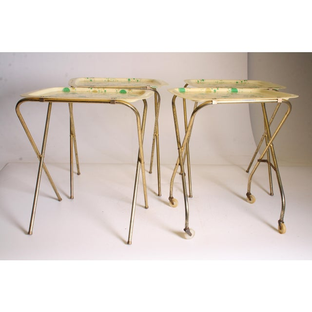 Mid Century Modern Yellow & Green TV Tray Tables - Set of 4 - Image 2 of 11