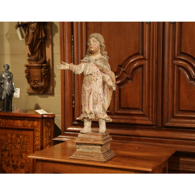 This exquisite, antique figure was carved in Southern France, circa 1650. Standing on a square walnut base, the detailed...