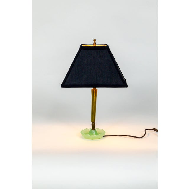 Metal Mid-Century Resin & Jadeite Dressing Table Lamp For Sale - Image 7 of 9