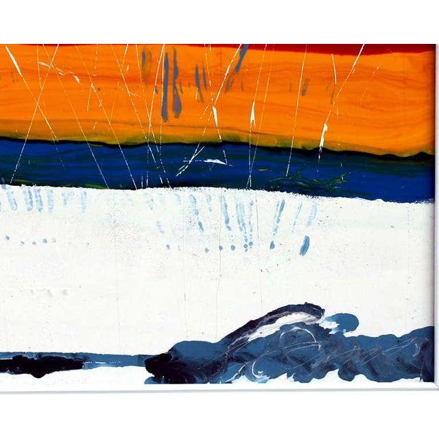 Large Vintage Expressionist Landscape Painting Signed Enamel on Board For Sale - Image 4 of 11