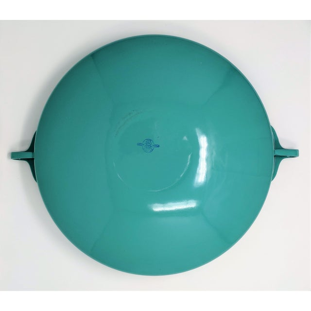 Danish Modern 1950s Danish Modern Jens Quistgaard Dansk Ihq Kobenstyle Turquoise Enamel Paella Pan For Sale - Image 3 of 8
