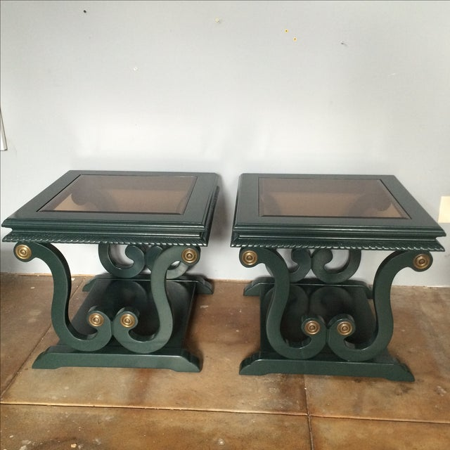 Freshly lacquered harp-shaped side tables with decorative hardware and bronze beveled glass. The Studio Green paint by...