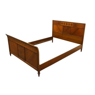 20th Century Italian Rockford Cabinet Mahogany Full Size Bedframe For Sale