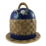 Image of Majolica Basketweave Cheese Dome For Sale