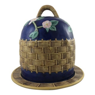 Majolica Basketweave Cheese Dome For Sale
