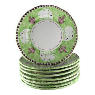 Italian Ceramica Artistica Solimene Vietri Frog Dinner Plates - Set of 8 For Sale