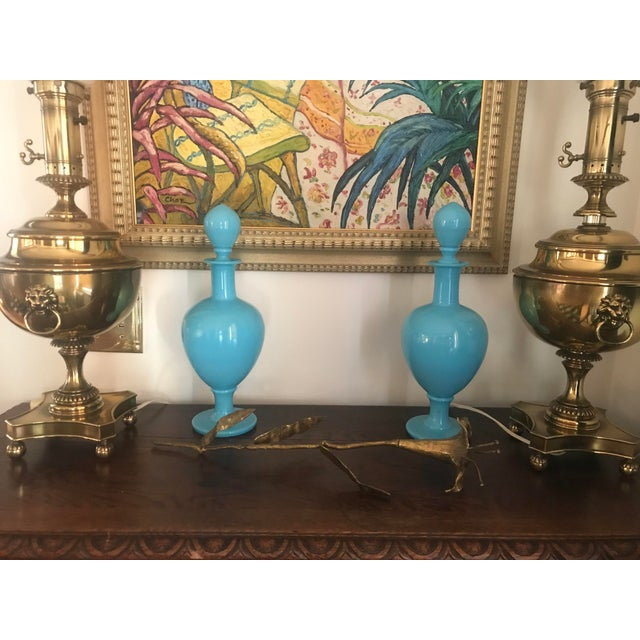 Glass 19th Century French Blue Opaline Large Decanters W/ Stoppers - a Pair For Sale - Image 7 of 13