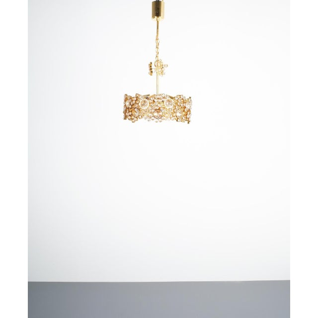 Metal Palwa Crystal Glass Gold-Plated Brass Chandelier Refurbished Lamp For Sale - Image 7 of 12