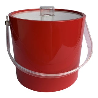 Mid-Mod Acrylic and Red Vinyl Ice Bucket For Sale