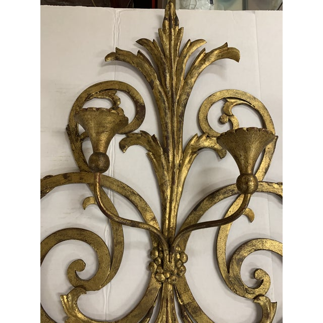 1960s 1960s Large Gilt Metal Italian 4 Arm Candle Wall Sconce For Sale - Image 5 of 8