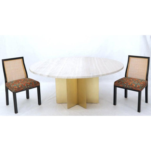 """72"""" Diameter 1"""" Travertine Marble-Top Round Dining Conference Table Star Base For Sale - Image 9 of 13"""