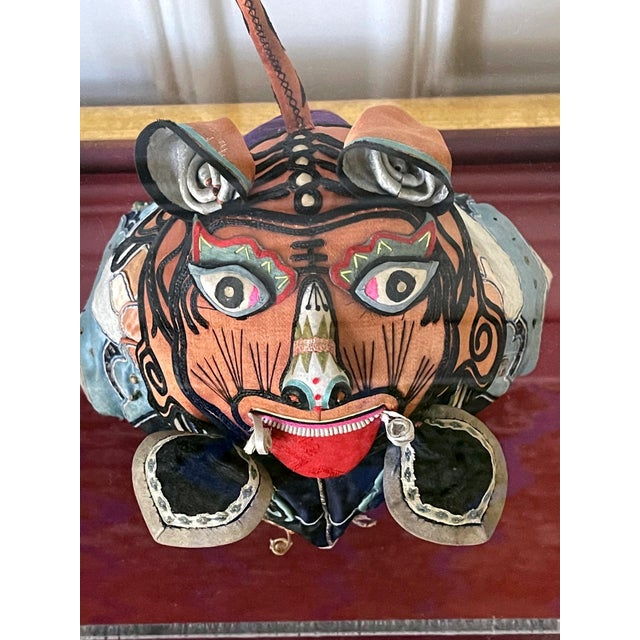 Framed Antique Chinese Child Tiger-Head Hat For Sale - Image 10 of 12