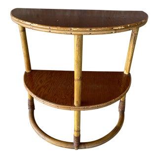 Vintage Half-Round Rattan Side Table For Sale