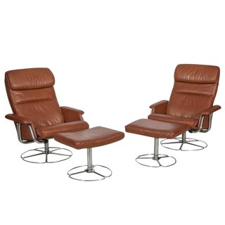 Bruno Mathsson for Dux Leather and Chrome Lounge Chairs and Ottomans - Set of 4 For Sale