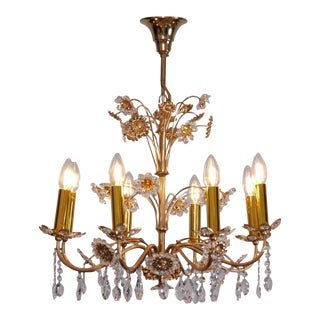Huge Palwa Gilded Brass and Glass Flower Chandelier For Sale