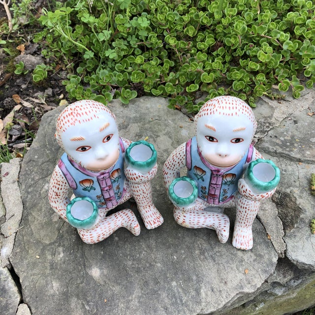 1980s Chinoiserie Monkey Candle Holder Figurines - a Pair For Sale In Baltimore - Image 6 of 9