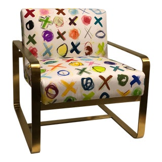 "Saxon Sling Chair Upholstered in Kelly O'Neal ""Xxoo's"" Canvas For Sale"