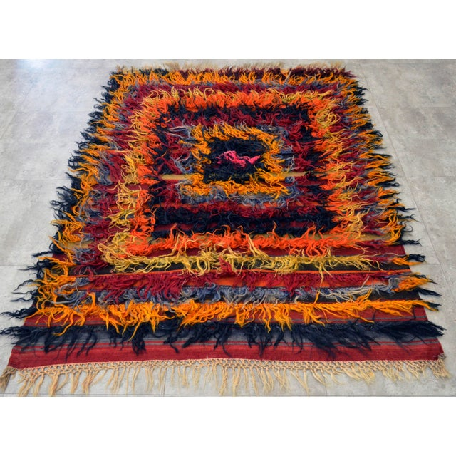 Antique Turkish Oushak Shaggy Mohair Tulu Rug - 4′6″ × 6′3″ - Image 5 of 10