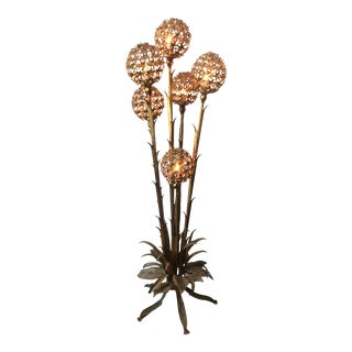 Hans Kogl 6 Arm Gilt Brass Floor Lamp For Sale
