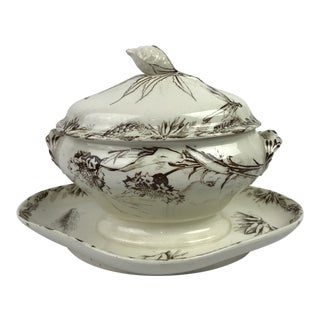 French Aesthetic Transferware Sauce Boat For Sale